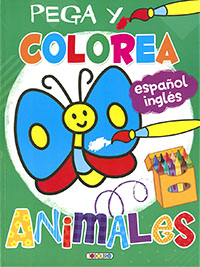 Pega y colorea animales